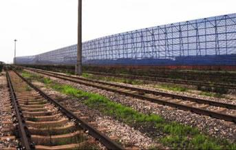 Part of the steel sand fence for railway